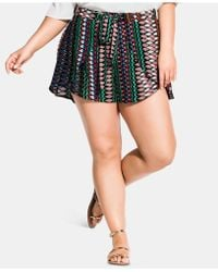 City Chic Plus Size Tie-front Printed Shorts - Multicolor