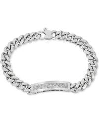 Macy's - Diamond (1/2 Ct. T.w.) Id Bracelet In Sterling Silver - Lyst