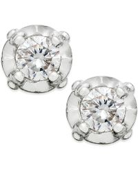 Macy's | Diamond Stud Earrings In 10k White Gold (1/10 Ct. T.w) | Lyst