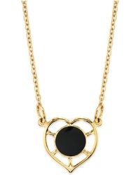 """2028 - 14k Gold Dipped Heart With Round Circle Light Blue Enamel Necklace 16"""" - Lyst"""