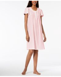 Miss Elaine - Striped Embroidered Short Nightgown - Lyst