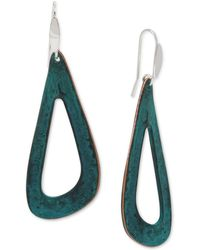 Robert Lee Morris Patina Sculptural Open Drop Earrings - Green