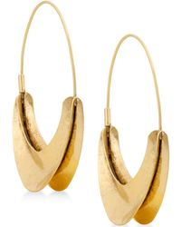 Lucky Brand - Gold-tone Organic Hoop Earrings - Lyst