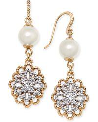 Charter Club - Two-tone Crystal Filigree & Imitation Pearl Drop Earrings - Lyst