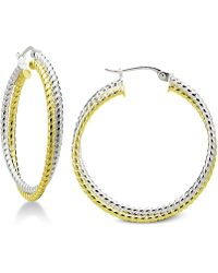 "Giani Bernini - Small Two-tone Twisted Hoop Earrings In Sterling Silver & 18k Gold-plate, 1"", Created For Macy's - Lyst"