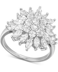 Macy's - Cubic Zirconia Floral Cluster Statement Ring In Sterling Silver - Lyst