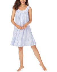Eileen West Ruffle Trim Eyelet Lace Chemise Nightgown - Blue
