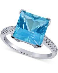 Macy's - Paraiba Mystic Topaz (6 Ct. T.w.) & Diamond (1/8 Ct. T.w) Statement Ring In 14k White Gold - Lyst