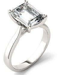 Charles & Colvard Moissanite Emerald Solitaire Ring (3-1/2 Ct. T.w. Diamond Equivalent) In 14k White Gold - Metallic
