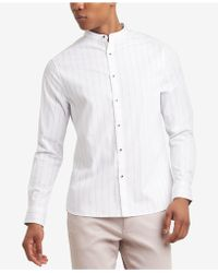 Kenneth Cole Reaction - Pinstripe Band-collar Shirt - Lyst