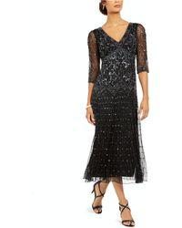 J Kara Embellished Sheer-sleeve Gown - Black