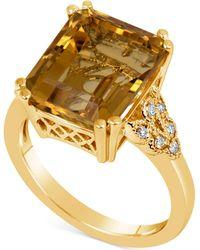 Macy's - Citrine (5-1/2 Ct. T.w.) & Diamond (1/10 Ct. T.w.) Ring In 14k Gold - Lyst