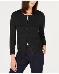 Charter Club Petite Textured Cardigan Sweater, Created For Macy's - Black