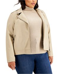Womens Brown Faux Suede Basic Jacket Outerwear Plus 1X BHFO 7782 Style /& Co