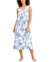 Charter Club Lace-trim Knit Nightgown, Created For Macy's - Blue