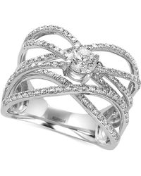 Effy Collection - Diamond Crisscross Ring (9/10 Ct. T.w.) In 14k White Gold - Lyst