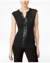 Calvin Klein - Contrast-trim Chain-neck Top - Lyst