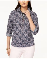 Tommy Hilfiger - Cotton Half-zip Printed Popover Top, Created For Macy's - Lyst