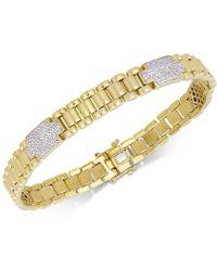 Macy's - Diamond Cluster Link Bracelet (1 Ct. T.w.) In 18k Gold-plated Sterling Silver - Lyst