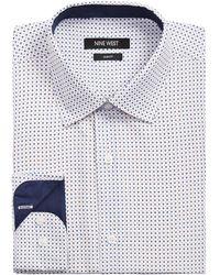 Nine West Slim-fit Performance Stretch Diamond Dot-print Dress Shirt - Multicolour