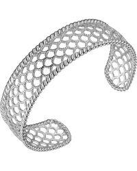 Macy's Prime Art & Jewel Sterling Silver Filigree Net Design Cuff Bracelet - Metallic