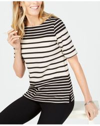 Karen Scott - Striped Elbow-sleeve Top, Created For Macy's - Lyst