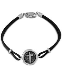 Effy Collection | Black Leather Cross Bracelet In Sterling Silver | Lyst