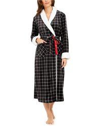 Sesoire Check-print Long French Fleece Robe - Black
