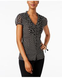 INC International Concepts | Petite Printed Ruffled Blouse, Only At Macy's | Lyst