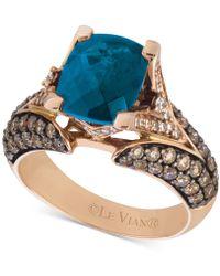 Le Vian Chocolatier® Deep Sea Blue Topaztm (3-3/8 Ct. T.w.) & Diamond (1-1/5 Ct. T.w.) Ring In 14k Rose Gold