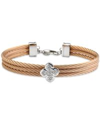 Charriol - Le Fleur Silver Bangle With White Topaz In Stainless Steel And Rose Gold - Lyst