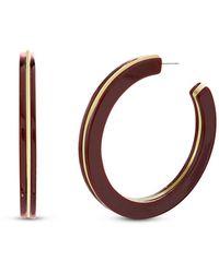 Kensie Burgundy Resin Layered Post Hoop Earring - Metallic