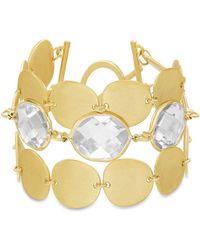 Catherine Malandrino White Rhinestone Oval Disc Link Yellow Gold-tone Toggle Bracelet - Metallic
