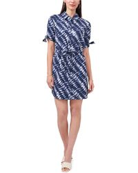 Vince Camuto Tie-dyed Shirtdress - Blue