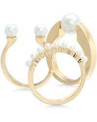 Alfani Gold-tone 3-pc. Set Imitation Pearl Stack Rings, Created For Macy's - Metallic
