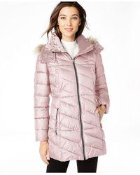 Marc New York Velvet-trim Faux-fur Hooded Puffer Coat - Pink