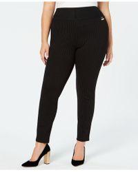 Calvin Klein Plus Size Pinstripe Skinny Compression Pants - Black