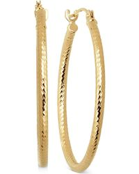Macy's - Thin Textured Round Hoop Earrings In 10k Gold, 4/5 Inch - Lyst