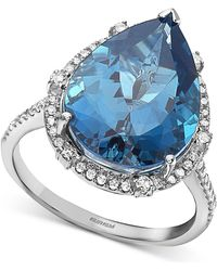 Effy Collection - Effy® London Blue Topaz (9-1/10 Ct. T.w.) & Diamond (1/3 Ct. T.w.) Pear Statement Ring In 14k White Gold - Lyst