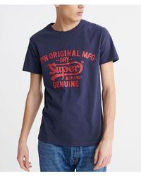 Mens Superdry Surplus Goods Longline Graphic T Shirt Hyper Blue Marble