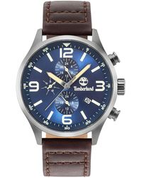 Timberland - Men's Rutherford Mahogany Brown Leather Strap Watch 45mm - Lyst
