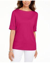 Karen Scott Petite Cotton Elbow-sleeve T-shirt, Created For Macy's - Pink