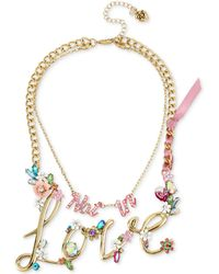 """Betsey Johnson - Gold-tone 2-in-1 (not In) Love Stone Statement Necklace, 13"""" & 16"""" + 3"""" Extender - Lyst"""