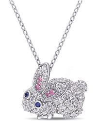 Macy's Multi-color Created Sapphire (1 1/10 Ct. T.w.) Bunny Necklace In Sterling Silver - White