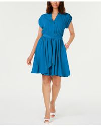 Charter Club Petite Belted Dress, Created For Macy's - Blue