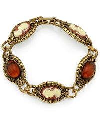 2028 - Gold-tone Brown And Simulated Dark Orange Cameo Bracelet - Lyst