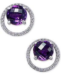 Macy's - Gemstone (1-1/2 Ct. T.w.) And Diamond (1/6 Ct. T.w.) Round Halo Birthstone Stud Earrings In Sterling Silver - Lyst