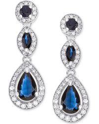 Macy's - Sapphire (1-1/2 Ct. T.w.) & Diamond (1/3 Ct. T.w.) Drop Earrings In 14k White Gold - Lyst