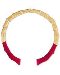 """Bar Iii Zerina Akers Gold-tone & Colour Rigid Collar Necklace, 5.5"""", Created For Macy's - Red"""