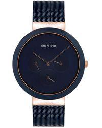 Bering Multi-function Blue Stainless Steel Mesh Bracelet Watch 40mm
